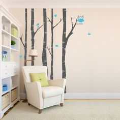 Birch Trees with Owl and Birds Wall Decal