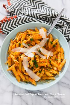 Roasted Red Pepper Pasta with Goat Cheese from thelittlekitchen.net