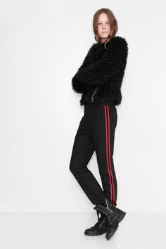 Zadig et Voltaire short jacket, zipped, in fake fur, printed cotton lining, 100% modacrylic. Model is 183cm/ 6'0