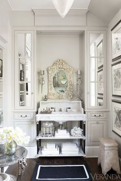 South Shore Decorating Blog: Saturday Beauty   Love the niche for sink and mirror..all it needs is a chandalier~