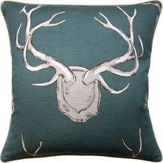 Teal Antler Pillow at Shop Ten 25