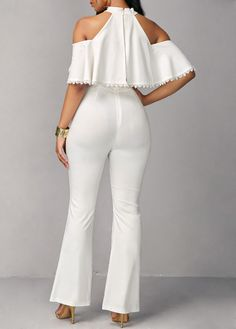 Mock Neck Cold Shoulder Overlay Embellished Jumpsuit on sale only US$36.79 now, buy cheap Mock Neck Cold Shoulder Overlay Embellished Jumpsuit at liligal.com