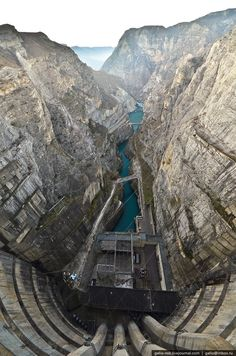 Chirkey Dam, Sulak River in Dagestan, Russia. At 763 ft it is the largest arch dam in Russia. Building started in 1964, the first generator was operational in 1974 and it 1978 the dam was completed.