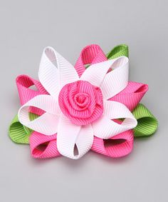 Dark Pink & White Flower Clip