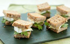 Mini Brie and Arugula Sandwiches with Apple Mustard