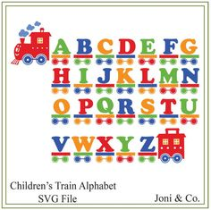 Train Alphabet SVG file, Childrens alphabet, Kids alphabet svg, vinyl cutting, printing, iron on transfer, vinyl wall design SVG file  Thank you for visiting the shop and having a look at the original artwork offered here.  This is an instant download of a SVG file to be used for cutting vinyl among many other uses.  WHAT YOU WILL RECEIVE  An SVG file will arrive zipped. All letters are on one file. Each letter is individually grouped. The train engine is grouped with the clouds.  A download…