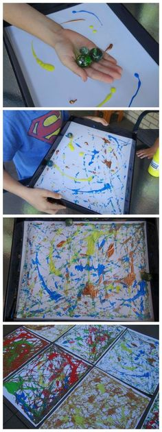 Fun activity for kids marble painting click Projects For Kids, Diy For Kids, Crafts For Kids, Kids Fun, Fun Activities For Kids, Art Activities, Therapy Activities, Summer Crafts, Fun Crafts