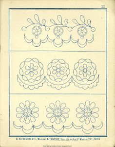 Free Easy Cross, Pattern Maker, PCStitch Charts + Free Historic Old Pattern Books: Fr - Alexandre Cutwork Embroidery, Floral Embroidery Patterns, Hand Work Embroidery, Embroidery Transfers, Machine Embroidery Patterns, Vintage Embroidery, Embroidery Designs, Embroidery Sampler, Crazy Quilting