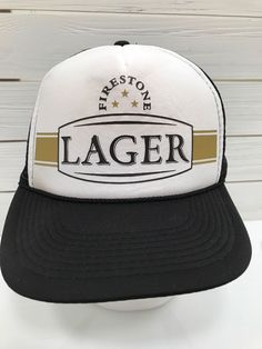 dca7561b100 Firestone Lager Beer Mesh Trucker Hat Snapback Black White Gold. Baseball Caps  For ...