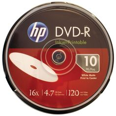 Hp 4.7gb 16x Printable Dvd-rs 10-ct Cake Box Spindle. Each DVD-R holds up to 4.7GB of music video or other data  Certified speeds up to 16x Compatible with most DVD players & computer-based DVD drives Printable surface is compatible with inkjet printers Ideal choice for full-color quality printing Lifetime warranty 10-ct cake box spindle