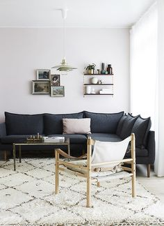 the beige colors and that dark sofa