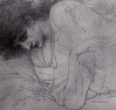 Pre Raphaelite Artist Edward Burne-Jones,, drawing of Maria Zambaco, 1871, drawn when their affair was at its height.