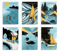 Arthur Ransome series (Vintage Classics) – winner of the Series ABCD Award 2016. Art directed by James Jones. Illustrated by Pietari Posti