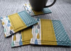 Quilted Fabric Coasters - Patchwork Mug Mats - Retro Inspired Fabric Coasters - Handmade Drinks Coaster by TheCornishCoasterCo on Etsy