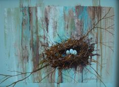 "Birds nest on a branch w/ 3 eggs. Acrylic on illustration board framed in glossy brown simple frame. 14x19"". $150.00, via Etsy."