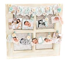 What a perfect way to show off a few photos of your new baby than with a new DIY altered window! Tiffany Solorio decorated this window frame to fit perfectly in a nursery. What a beautiful focal point on a dresser or hanging on a wall. The project features multiple paper designs, new Heaven Sent flowers, and lovely Watercolor Tags that Tiffany colored to match her palette. Tip: switch out the pictures as your baby grows for a showstopper everyone will want to keep peeking at! #nursery…