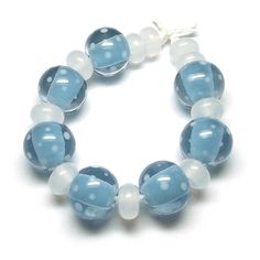 Beads By Laura: Lampwork glass 'Soft Blue Spotties' beads by Laura Sparling