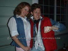 Homemade Marty McFly and Jennifer Parker Couple Costume... This website is the Pinterest of costumes