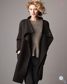 Eileen Fisher Boiled Wool Stand-Collar Coat MADE BY EILEEN FISHER ...