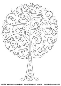 Sew Beautiful Blog: Free Daily Design: Swirly Tree    je kunt iemands letters erin verwerken