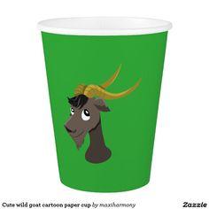 Cute wild goat cartoon paper cup