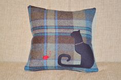 Items similar to Cat Pillow in Tweed Wool - Black Cat with chain collar on Blue and Brown Tweed Wool on Etsy