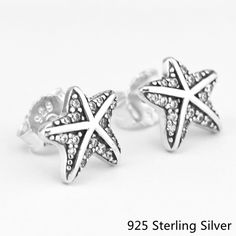 CKK Authentic 925 Sterling Silver Stud Earrings Tropical Starfish European Style Jewelry For Women Fashion Charms