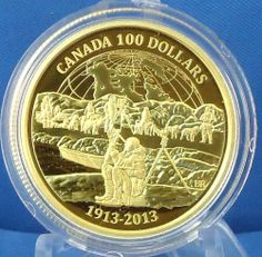 2013 Anniversary Canadian Arctic Expedition Gold Proof, ONE OF 100 Dollar, Dollar Coin, Canadian Coins, Gold Coins, Arctic, Coupons, Anniversary, Military, Money