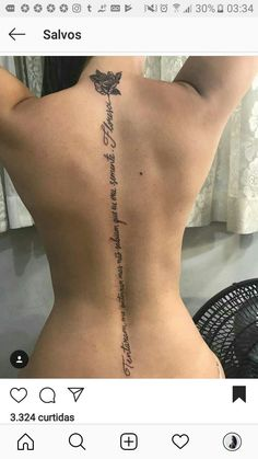 Back tattoo spine quotes for women 60 Ideas Cross Tattoos For Women, Simple Tattoos For Women, Black Girls With Tattoos, Spine Tattoos For Women, Sexy Tattoos For Girls, Cool Tattoos For Guys, Pretty Tattoos, Back Tattoos Spine, Girl Back Tattoos