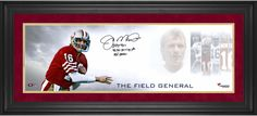 """Joe Montana San Francisco 49ers Framed Autographed 10"""" x 30"""" Field General Photograph with Multiple Inscriptions-#2-15 of Limited Edition of 16"""