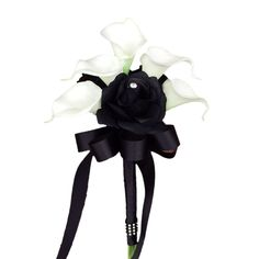 "7.5"" Bouquet: Black Roses and White Calla Lilies Bouquet"