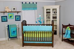 BABY ROOM DECOR turquoise | Pam Grace Creations Zigzag 10 Piece Baby Crib Bedding Set, Teal And ...