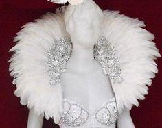 Pluma bailarina Cabaret Drag cisne blanco nieve mochila