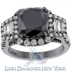 6.15 CT.Cushion Cut Black Diamond Engagement Ring 14K Black Gold Vintage Style - Black Diamond Engagement Rings - Engagement - Lioridiamonds.com
