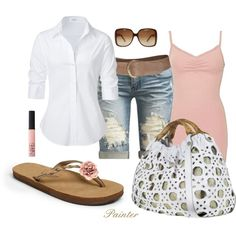 Romantic, simple, summer.  Pink tank, white button up, long distressed shorts and pink sandals.  Must have.