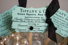 Tiffany and Co. Cupcake Toppers- All Occasions Cupcake Toppers- Breakfast At Tiffany's Theme- Bridal Shower- Set of 12