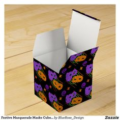 Shop Festive Masquerade Masks Cube Favor Box created by BlueRose_Design. Halloween Party Supplies, Custom Napkins, Party Hacks, Masquerade Masks, Favor Boxes, Paper Plates, Gift Bags, Trick Or Treat, Mardi Gras