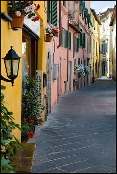 This photo from Lucca, Tuscany is titled 'Happy Street'. Sicily Italy, Tuscany Italy, Pisa Italy, Cinque Terre, Turin, Places To Travel, Places To Visit, Emilia Romagna, Rome