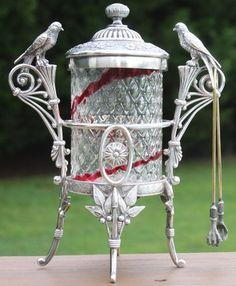 Antique Victorian DIAMOND OPTIC RUBY STRIPE Glass BIRD Silverplate PICKLE CASTOR