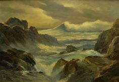 Drama of waves on rock in this painting by Alfred DuPont of Laguna Rocks, 30x38 Oil
