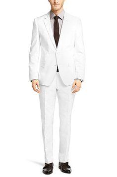 Slim-fit cotton suit 'Hutson1/Gander', White