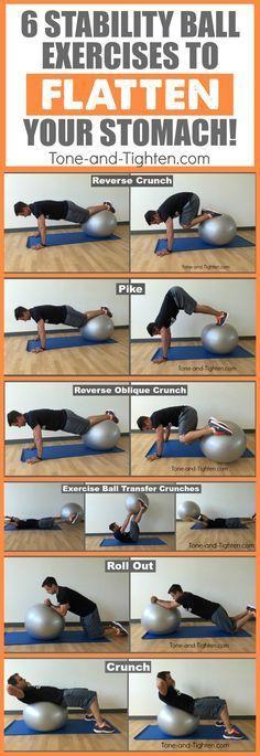 Gym & Entraînement  : best exercise ball ab exercises stomach tone tighten pinterest