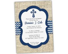 Navy Baptism Invitation Boy - Baby Boy Blue Christening Invitations - Country Burlap Chevron - Spanish Communion- Grey Cross from Party Print EXPRESS Baptism Invitation For Boys, First Communion Invitations, Christening Invitations, Party Invitations, Invitation Ideas, Tavern On The Green, Baptism Decorations, Baby Boy Baptism, Boy Blue