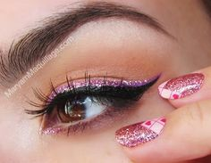 black & pink glitter cat eyes