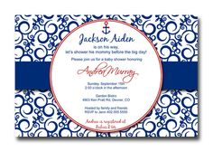 Blue Damask Nautical Anchor Sprinkle Baby or Bridal Shower  Invitation Card  - You Print