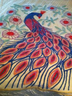 Vintage Peacock Chenille Spread Brilliant Colors VG Queen Rare