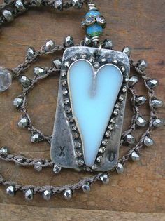Rustic heart pendant crochet necklace - Bohemian soldered pendant