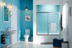 An Ingenious Solution to an Age-Old Shower-Door Problem Tub Shower Doors, Bathtub Doors, Bathtub Shower, Bathroom Renos, Small Bathroom, Bathroom Ideas, Blue Bathrooms, Traditional Toilets, Bath Store