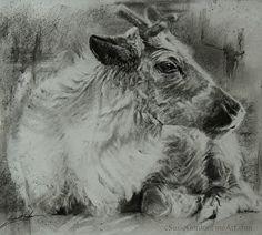 """littlest reindeer"" by Susie Gordon in the FASO Daily Art Show Reindeer, Charcoal, Moose Art, Wildlife, Album, Drawings, Pretty, Painting, Animals"