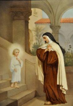 "Tableau ""Apparition de l'Enfant-Jésus à sainte Thérèse"" Ste Therese, St Therese Of Lisieux, Rennaissance Art, Saint Teresa Of Avila, Saint Denis, Mary And Jesus, Holy Mary, Blessed Mother, Religious Art"